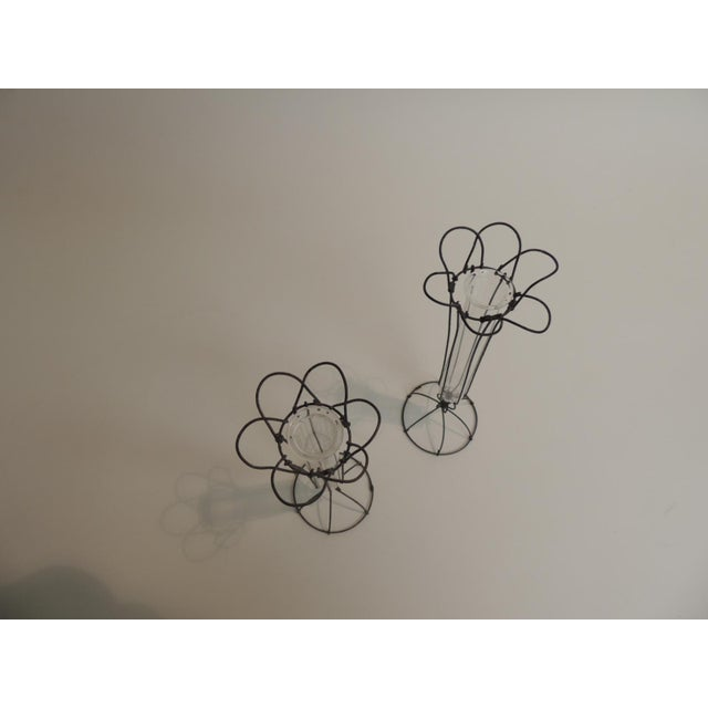 Small Victorian Wire And Glass Flower Bud Vases A Pair Chairish