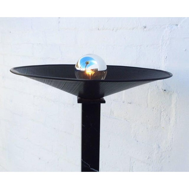 Postmodern Italian Black Marble Torchiere Floor Lamp For Sale - Image 4 of 7