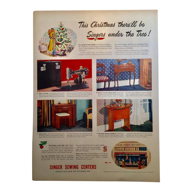 1946 Vintage Singer Sewing Ad - Image 1 of 4