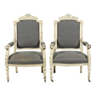 Late 19th-C. French Louis XVI-Style Armchairs, Pair For Sale