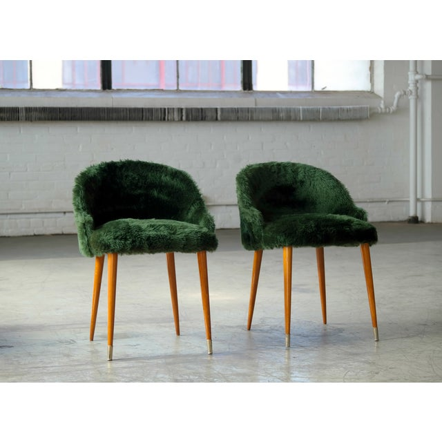 Art Deco Frode Holm Inspired Mid-Century Danish Vanity Chairs in Elm and Green Faux Fur - a Pair For Sale - Image 3 of 10