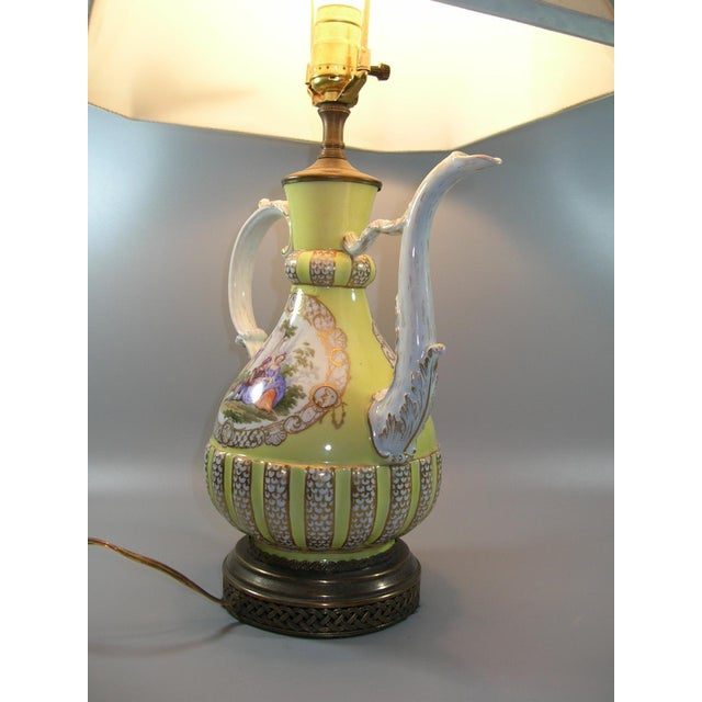 Yellow 18th Century Meissen Porcelain Pitcher Mounted as Lamp For Sale - Image 8 of 13
