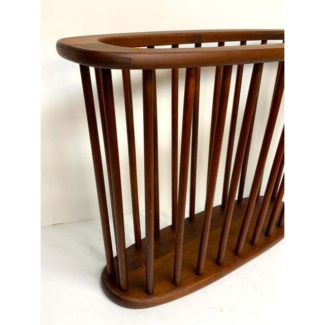 Danish Modern Oval Spindle Teak Magazine Rack For Sale - Image 4 of 8