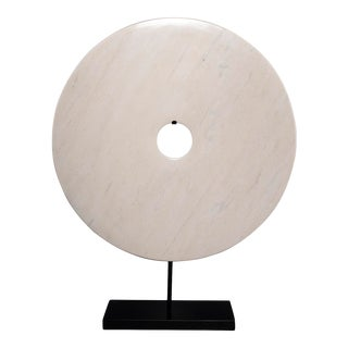 Extra Large Chinese Polished White Stone Disc on Stand For Sale