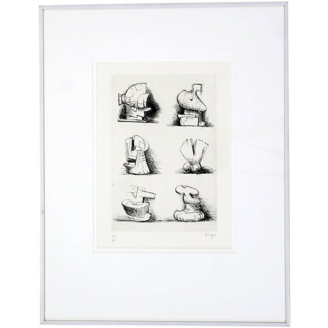 Mid-Century Modern Print Six Sculpture Motives Signed by Henry Moore 182/200 For Sale