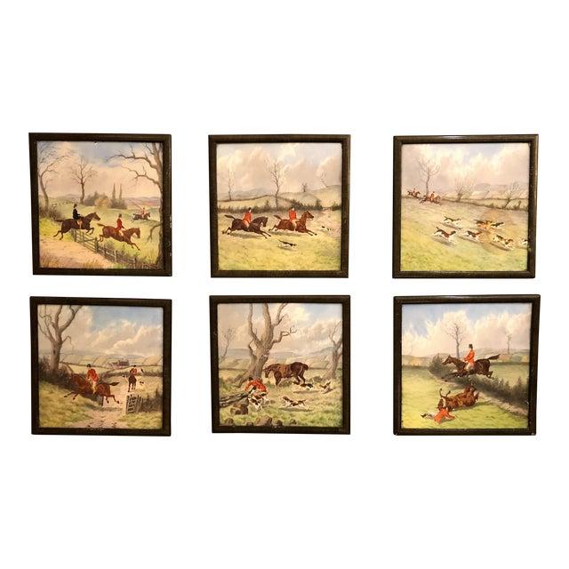 Set of 6 Antique English Minton Fox Hunt Tiles, Circa 1890-1900. For Sale