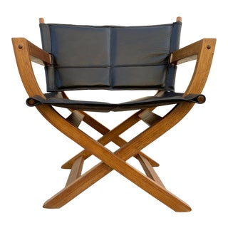 "1970s Modern Teak and Leather Folding Chair, ""Director's Style"" For Sale"