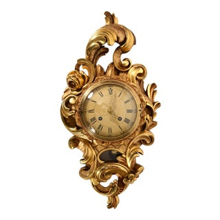 Vintage Gilt Wood Framed Swedish Wall Cartel Clock For Sale