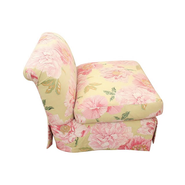 Scalamandre Embroidered Scalamandre Slipper Chairs- a Pair For Sale - Image 4 of 6