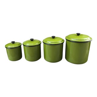 Vintage Bright Green Enamel Lidded Canisters - Set of 4 For Sale