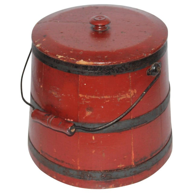 19th Century Original Brick Red Shaker Style Bucket with Handle - Image 1 of 4