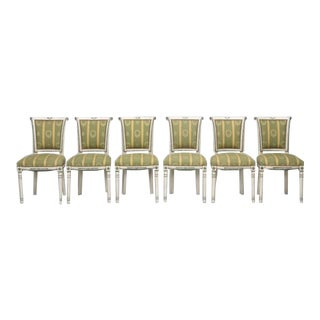 French Directoire Old Paint Dining Chairs - Set of 6 For Sale