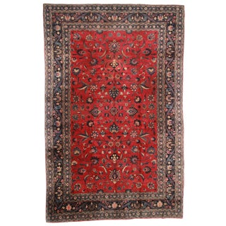 "RugsinDallas Hand Knotted Wool Persian Mashad Rug - 10'4"" X 16'4"" For Sale"