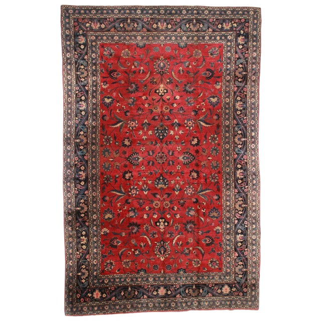 """RugsinDallas Hand Knotted Wool Persian Mashad Rug - 10'4"""" X 16'4"""" - Image 1 of 2"""