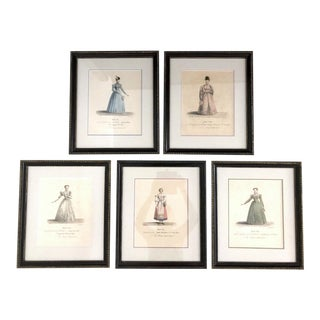 1570 French Theatre (Ladies Fashion) Costume Lithographs, Set of 5 For Sale