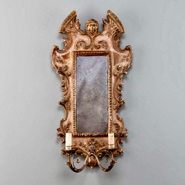 Baroque 19th Century Italian Sconces With Carved Mirror and Gilt Gesso Frames - A Pair For Sale - Image 3 of 7