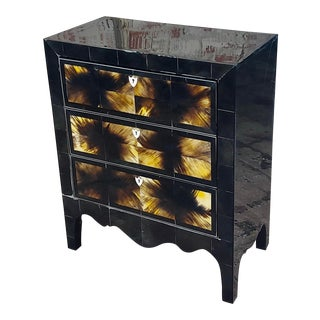 Bull Horn Veneer & Black Lacquer Beautiful 3 Draws Commode For Sale