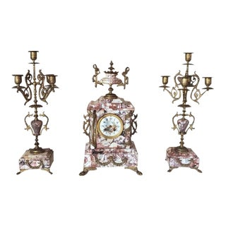 19th Century Parisian Mantel Set - 3 Pieces For Sale