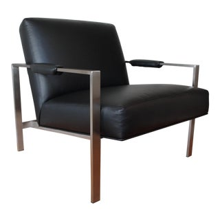 Thayer Coggin Modern Black Leather Lounge Chair For Sale