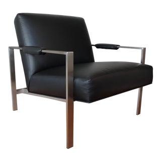 Thayer Coggin Modern Black Leather Lounge Chair