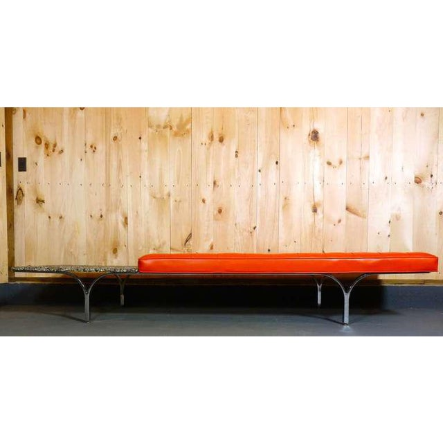 Bench by Erwin and Estelle Laverne. Vinyl seat with stone attached table.