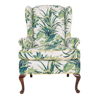 1960s Vintage Palm Leaf Pattern Fabric Wingback Chair For Sale