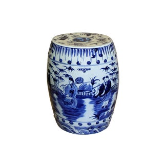 Chinese Blue & White Porcelain Round People Theme Stool For Sale