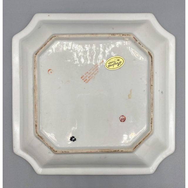 Late 20th Century 20th Century Chinoiserie Blue and Pink Floral Vide Poche/Catchall Dish For Sale - Image 5 of 6