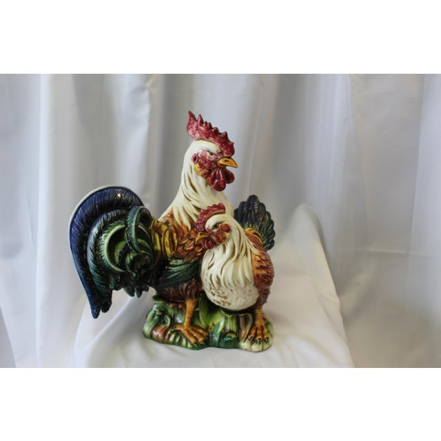 Vintage Italian Hand-Painted Ceramic Rooster & Hen For Sale - Image 9 of 9