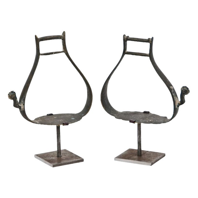 Mid 19th Century Russian Bronze Stirrups on Custom Steel Stands - a Pair For Sale