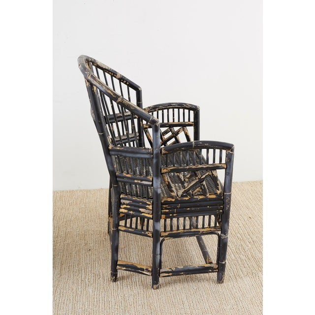 Mid 20th Century Brighton Bamboo Rattan Chinese Chippendale Lacquered Chairs For Sale - Image 5 of 13