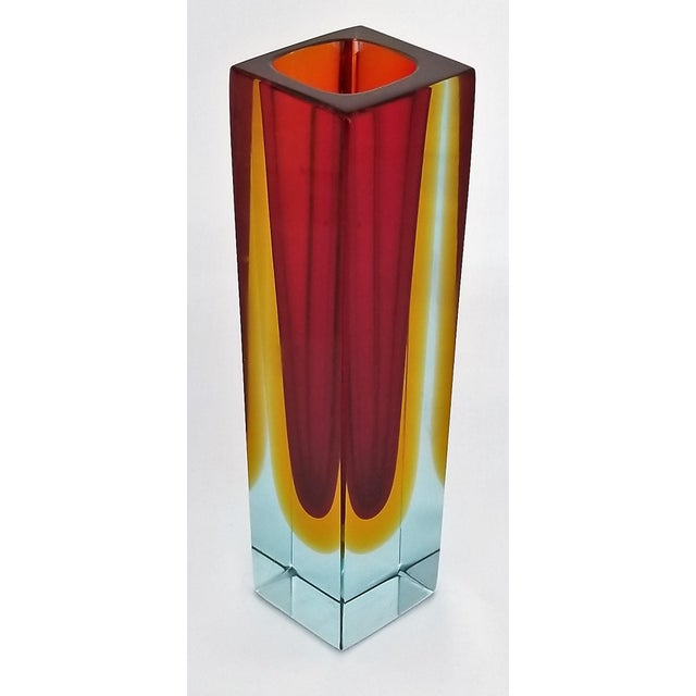 Offering a rectangular polished Murano glass vase by Alessandro Mandruzzato, made in Italy, circa 1970s. This heavy and...