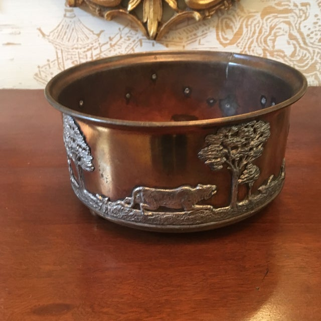 African Wildlife Copper and Silverplate Jardinere For Sale - Image 4 of 9