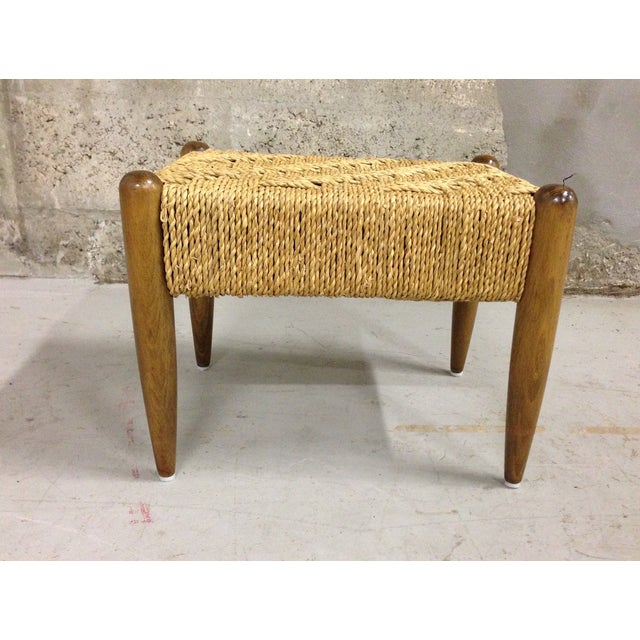 Vintage Mid-Century Woven Rope Footstool - Image 4 of 8