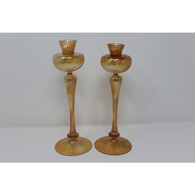 Murano Contemporary Murano Candle Holders by Ballarin - a Pair For Sale - Image 4 of 4