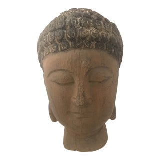 1960s Vintage Hand Carved Wood Buddha Head For Sale