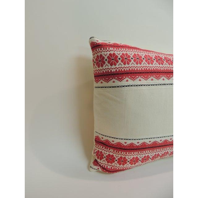 Vintage Ukrainian woven textile bolster Boho chic style decorative pillow. Horizontal floral stripes on a handwoven...