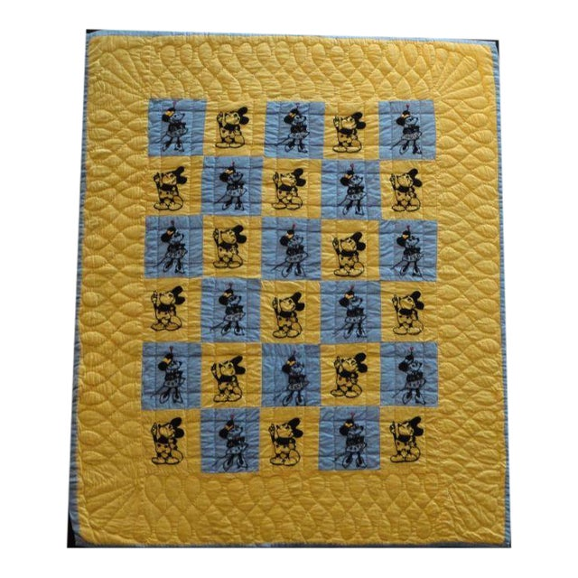 Mounted Folky and Rare Mickey & Minnie Mouse Crib Quilt - Image 1 of 7