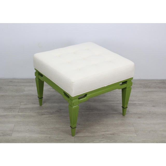 1960s Mid-Century Cream Linen Benches, a Pair For Sale - Image 5 of 13