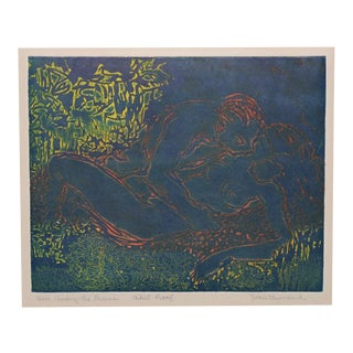 "1950s ""Here, Among the Leaves"" Etching W/ Aquatint by Jean Townsend For Sale"