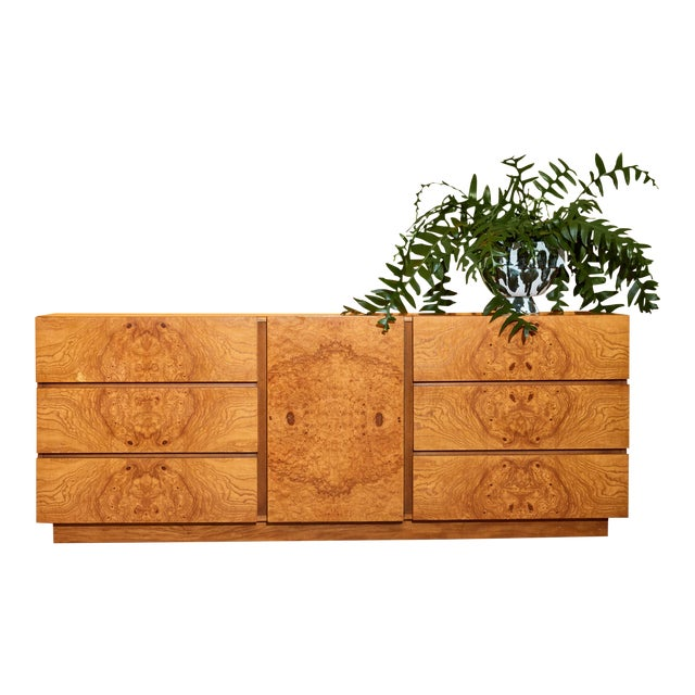 Burl Credenza by Milo Baughman for Lane For Sale