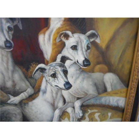 Maitland Smith-Style Greyhound Dog Painting For Sale - Image 4 of 10