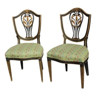 Pr. Of 19/18 C. Continental Shield Back Painted and Gilded Side Chairs For Sale