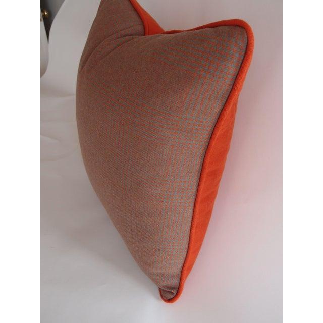 Grey & Orange Plaid Pillow in Ralph Lauren Fabric - Image 4 of 4