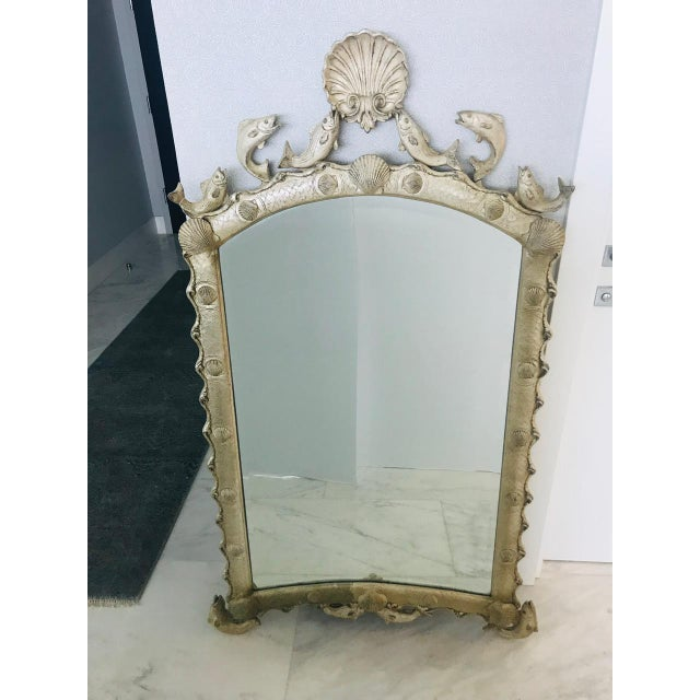 1990s Exquisite Hollywood Regency Scalloped Mirror in Antique Sterling Silver Leaf For Sale - Image 5 of 13