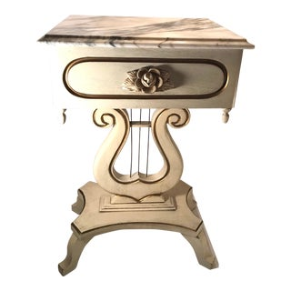 20th Century French Provencial Wooden Marble Top Lyre Table