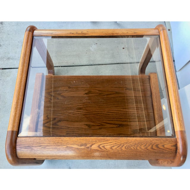 Geometric Oak & Glass Side Tables - Image 4 of 8