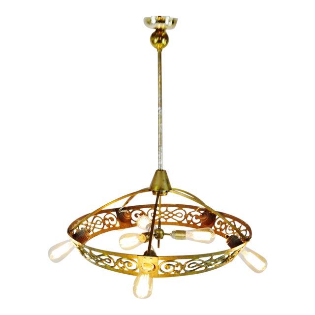 Art Deco Brass 8 Light Chandelier - Image 1 of 11