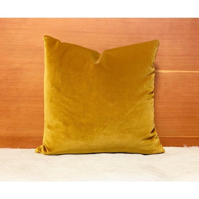 "Modern Yellow Loro Piana Velvet Pillow, 18"" For Sale - Image 3 of 5"