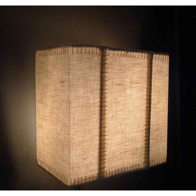 Hand-Stitched Laced Linen Shaded Wall Sconces For Sale In Los Angeles - Image 6 of 7